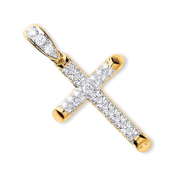 9 carat gold cubic zirconia cross