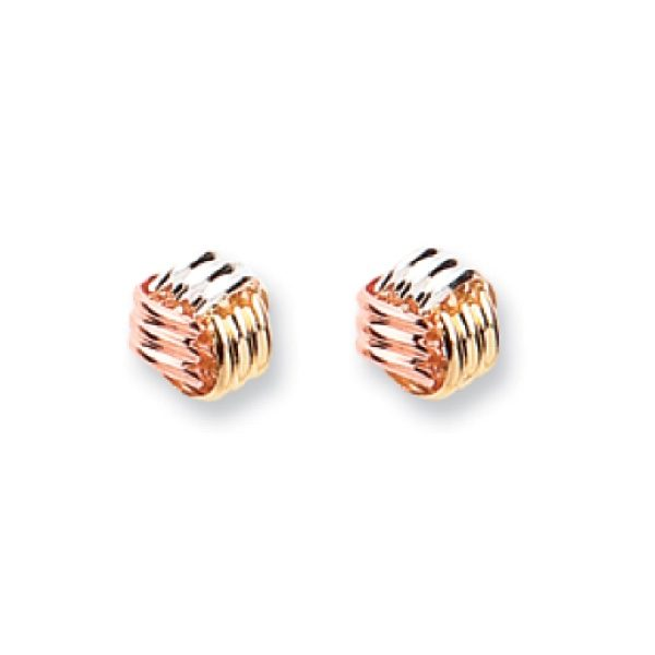9 carat three colour gold box style earrings