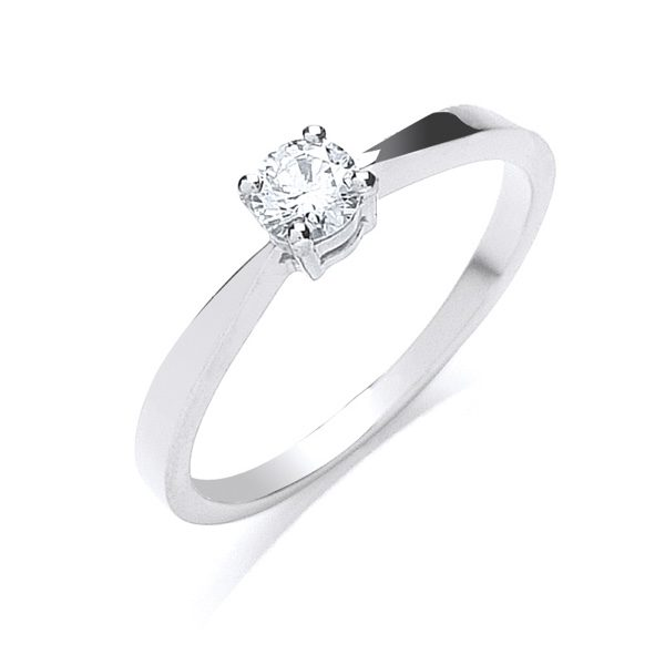 18ct white gold diamond solitaire engagement ring 0.25cts
