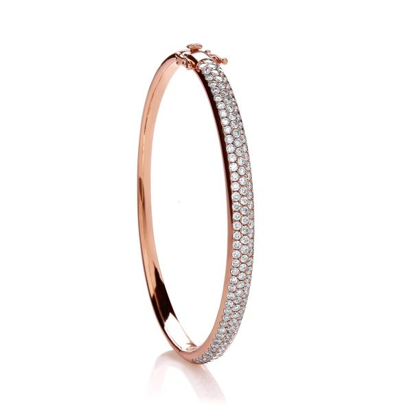 18 carat rose gold diamond bangle 3.00 carats