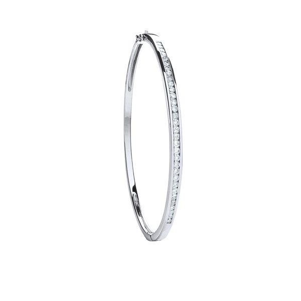 18 carat white gold diamond bangle