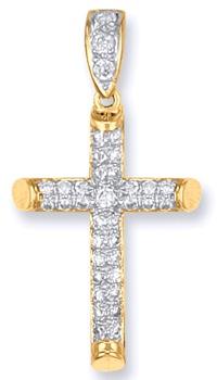 9 carat yellow gold cubic zirconia set cross pendant