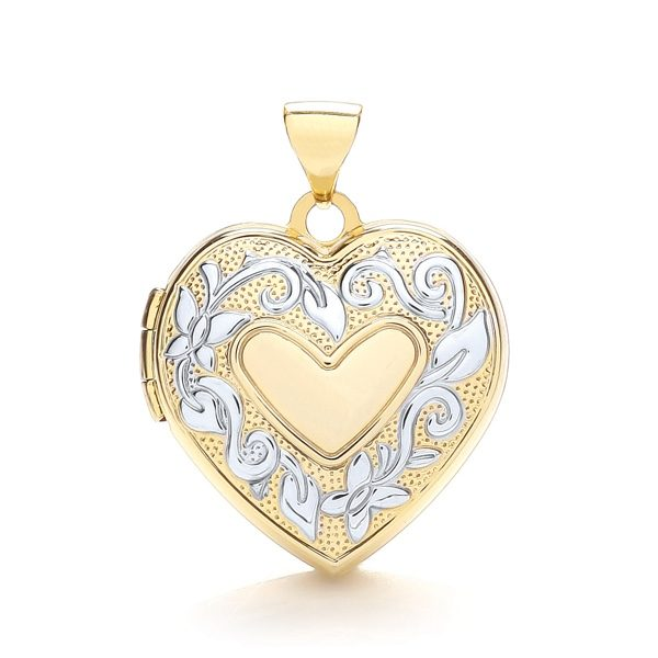 9 Carat Yellow And White Gold Heart Shaped Family Locket