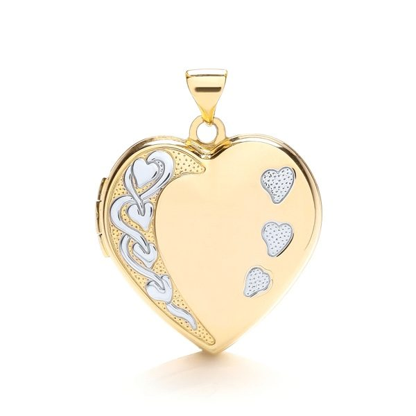9 Carat Yellow & White Gold Heart Shaped Family Locket