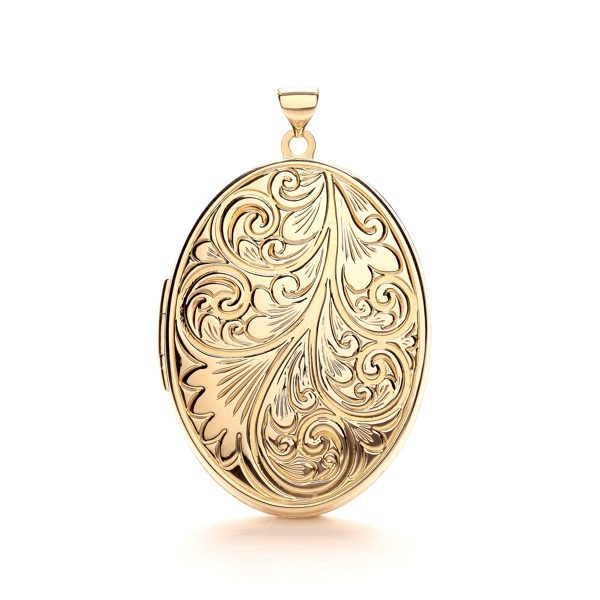 9 Carat Yellow Gold Ladies Patterned Oval Locket