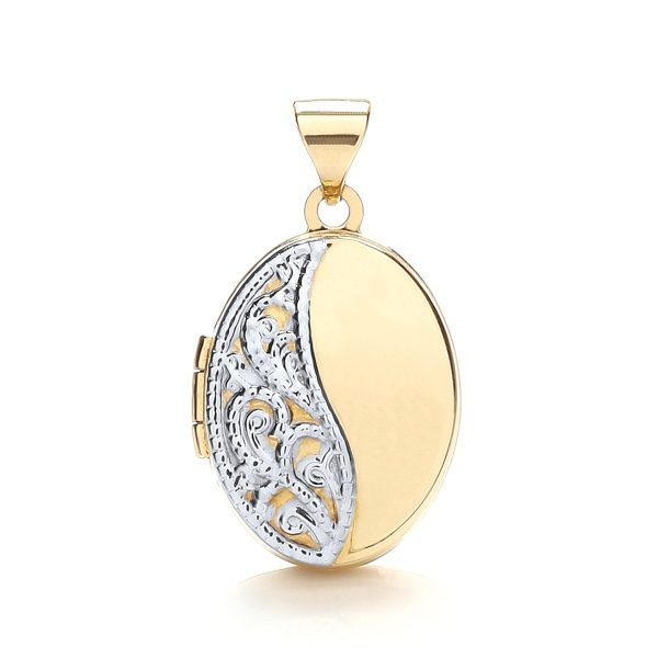 9 Carat Gold Ladies Oval Shaped Patterned Locket