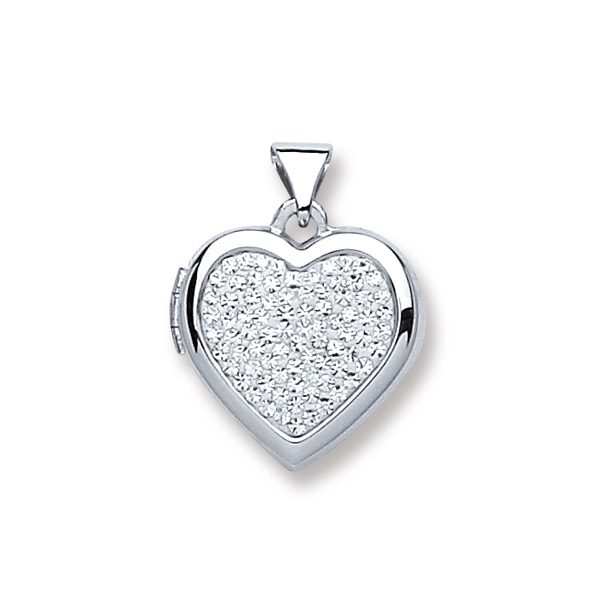 Sterling Silver Cubic Zirconia Heart Locket Pendant
