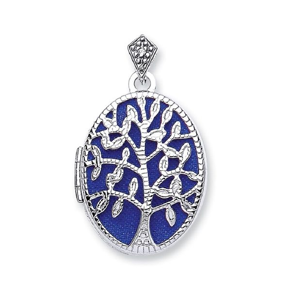 9 Carat Whitw Gold Tree Of Life Locket