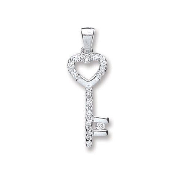 Sterling Silver Cubic Zirconia Heart key Pendant