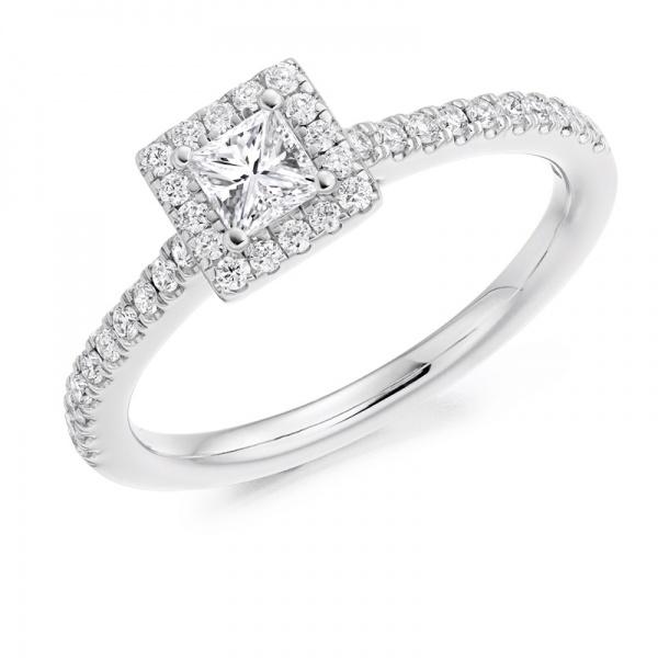 Princess Cut Square Diamond Halo Ring Northumberland Goldsmiths