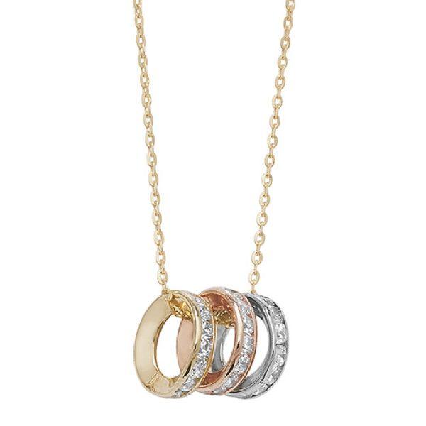 9 Carat Tri Colour Gold Cubic Zirconia Pendant With Chain