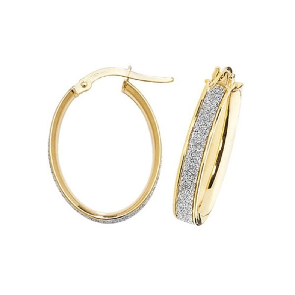 9 carat yellow gold oval frosted hoop earrings