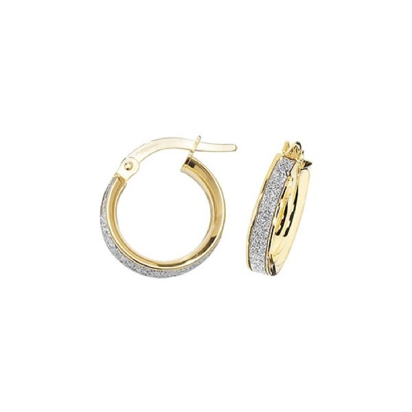 9 carat yellow gold frosted hoop earring 10mm
