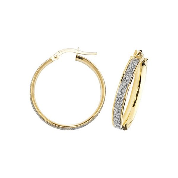 9 carat yellow gold frosted hoop earrings