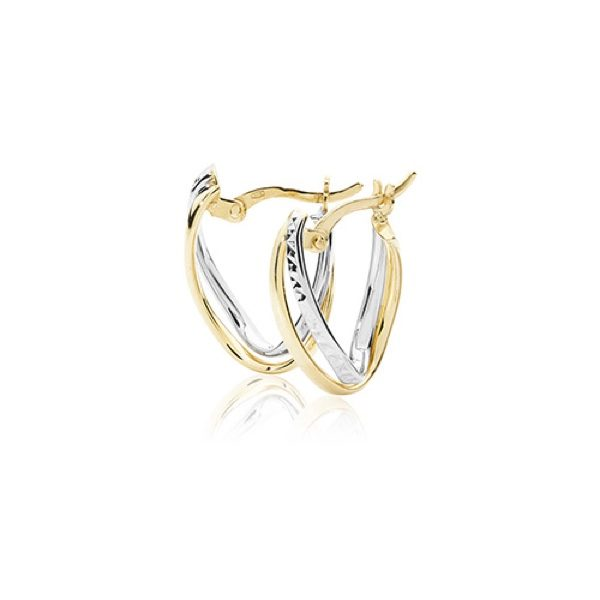 9 carat dual gold v shape earrings with a diamond-cut design