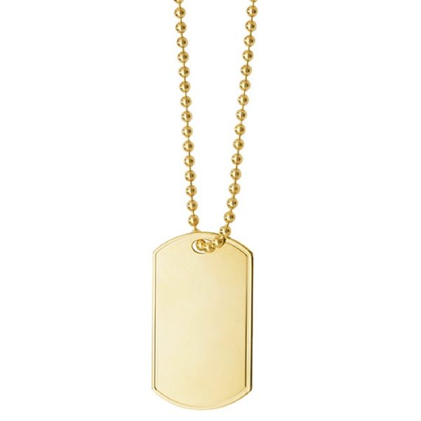 9 carat yellow gold dog tag and chain