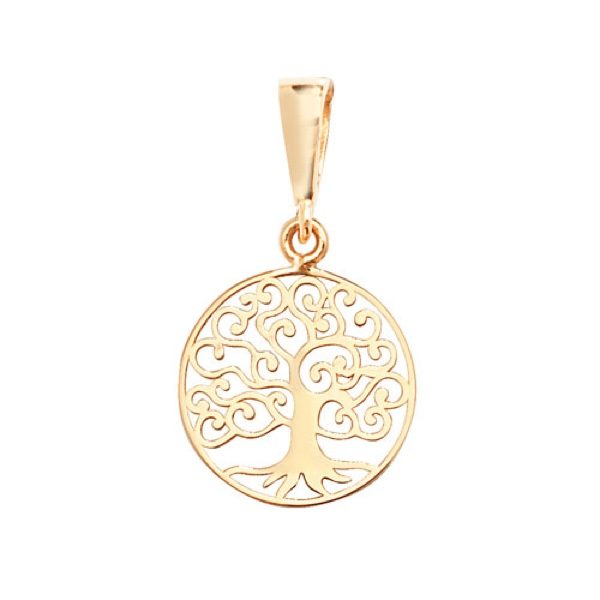 9 carat yellow gold tree of life pendant