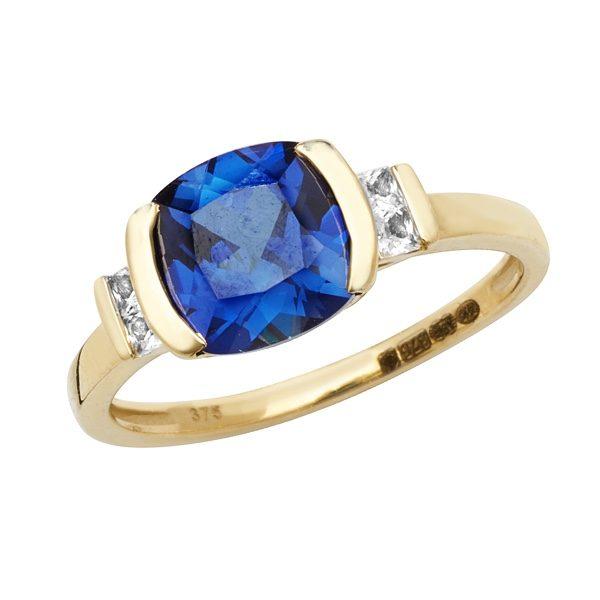 9 carat gold created sapphire dress ring