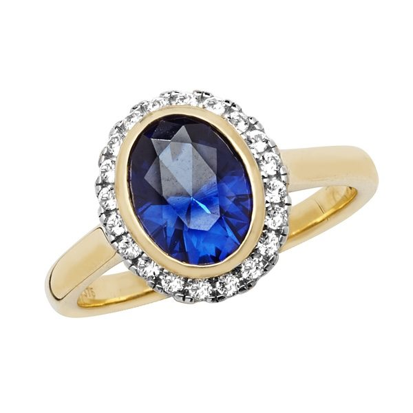 9 carat gold oval created sapphire ring