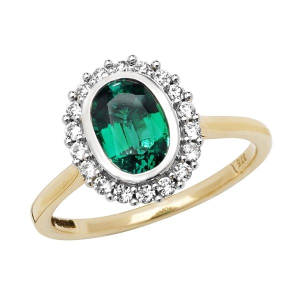 9 carat yellow gold created emerald dress ring