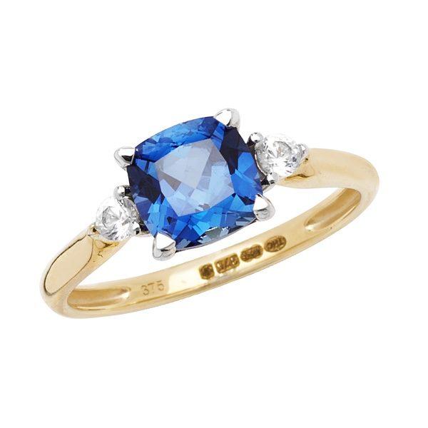 9 carat gold cushion shape created sapphire dress ring