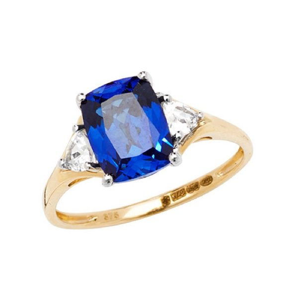 9 carat yellow gold created sapphire ring