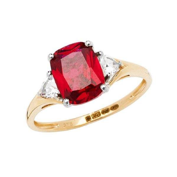 9 carat gold created ruby ring