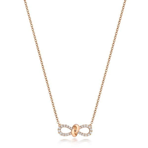 18ct Rose Gold Diamond Bow Pendant & Chain