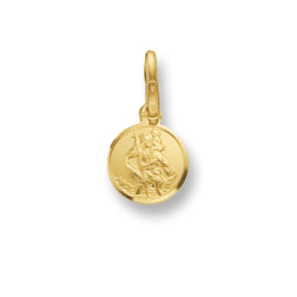 9 Carat Yellow Gold Round St Christopher Pendant