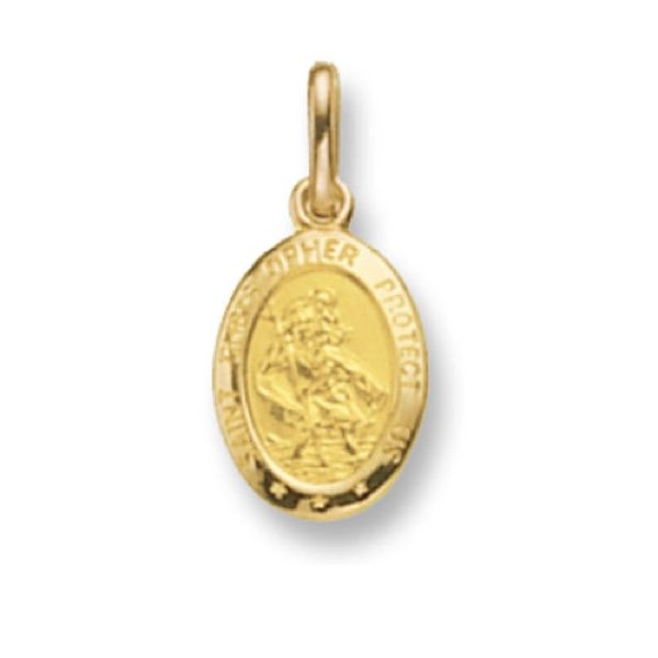 9 Carat Yellow Gold Oval St Christopher