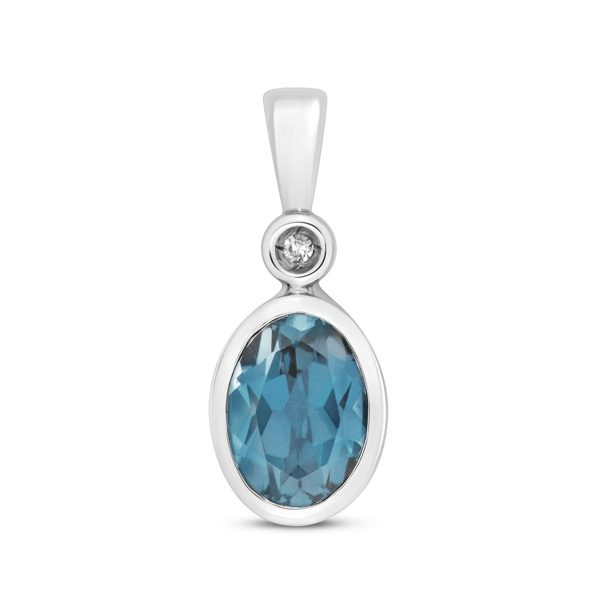 9 carat white gold oval blue topaz and Diamond pendant