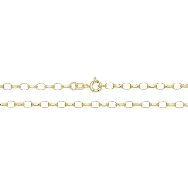 9 Carat Yellow Gold Faceted Belcher Chain