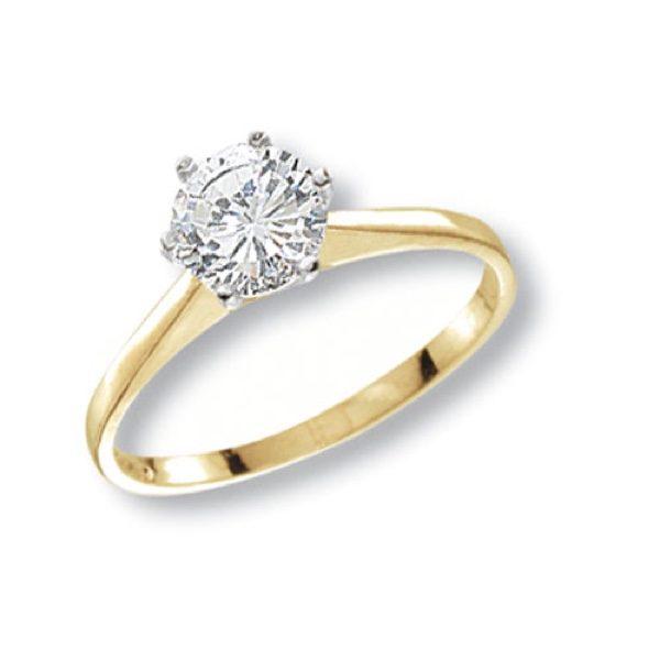 9 carat gold cubic zirconia solitaire ring