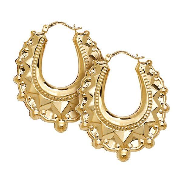 9 carat yellow gold creole earrings