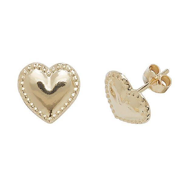 9 carat yellow gold heart shape earrings