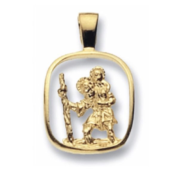 9 Carat yellow Gold Square St Christopher