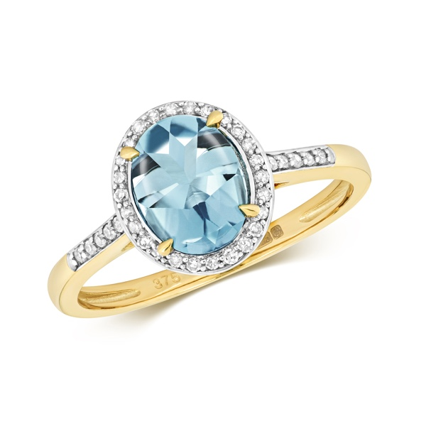 Blue Topaz ringin 9 carat yellow gold-Gold and blue Topaz ring-9ct gold ring with a round Topz.