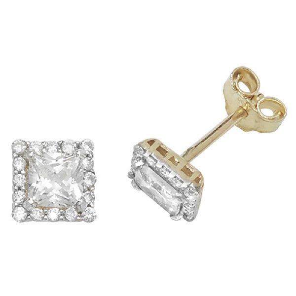 9 carat yellow gold cubic zirconia earrings