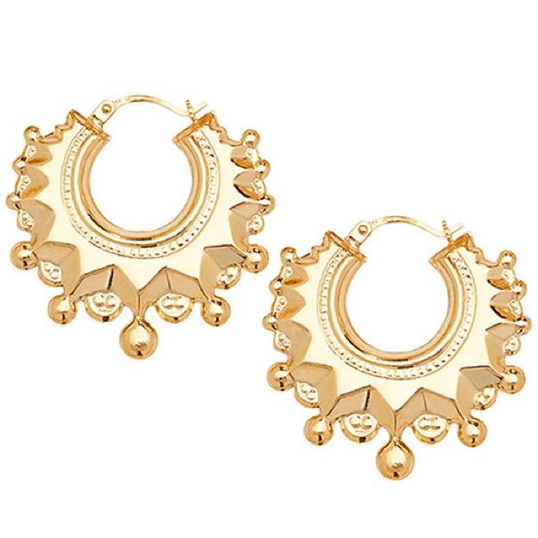9 carat yellow gold round shape creole earrings