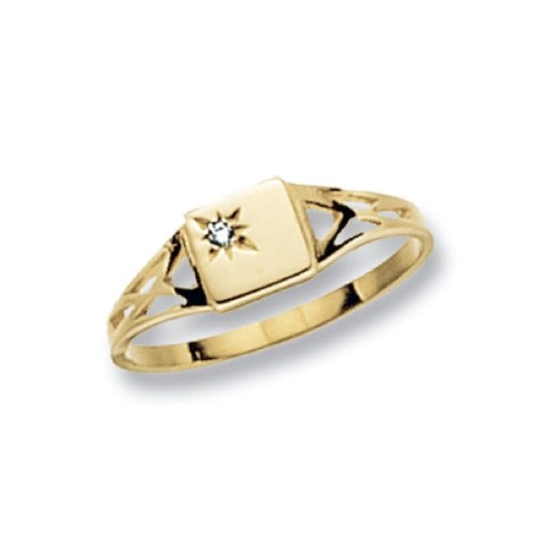 9 carat yellow gold square shaped maidens signet ring set with a cubic zirconia