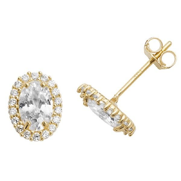9 carat yellow gold oval shape Cubic Zirconia stud earrings