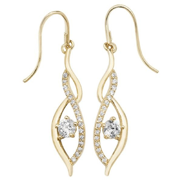 9 carat yellow golf fish hook style earrings set with cubic zirconias