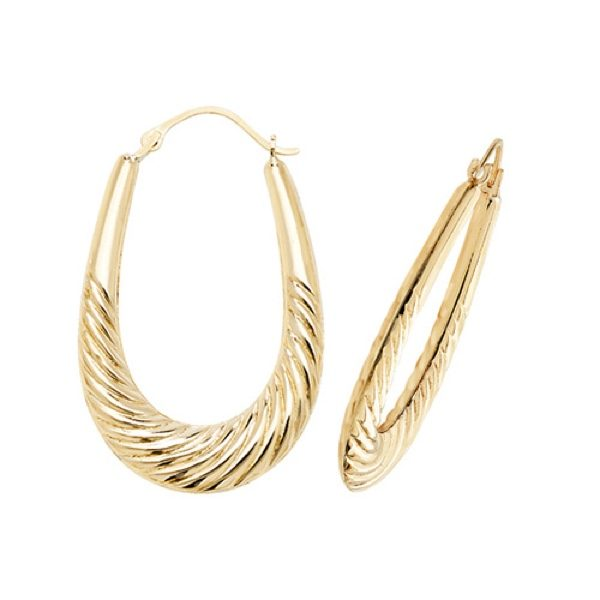 9 carat yellow gold twist design creole earrings