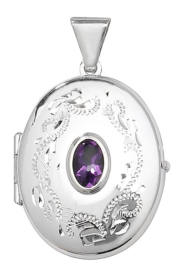Sterling Silver Oval Shaped Amethyst Locket