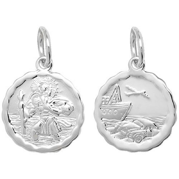 Sterling Silver Patterned Edge St Christopher