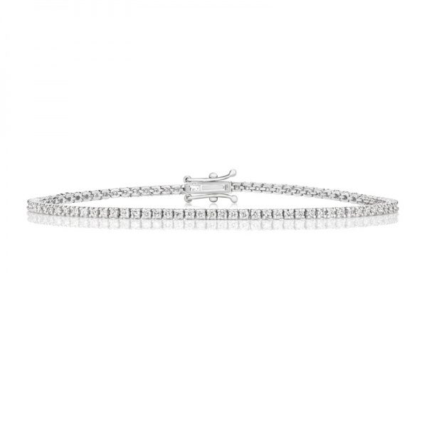 18ct white gold diamond line bracelet 1.60cts