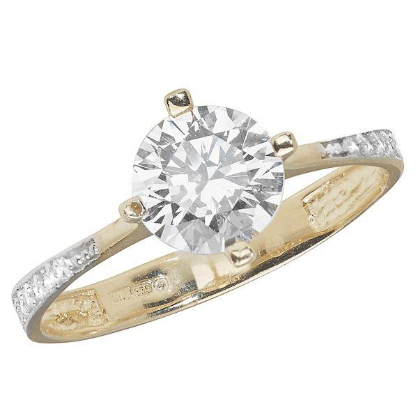 9 carat yellow gold cubic zirconia ring