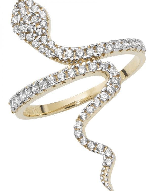 9 carat gold cubic zirconia snake ring