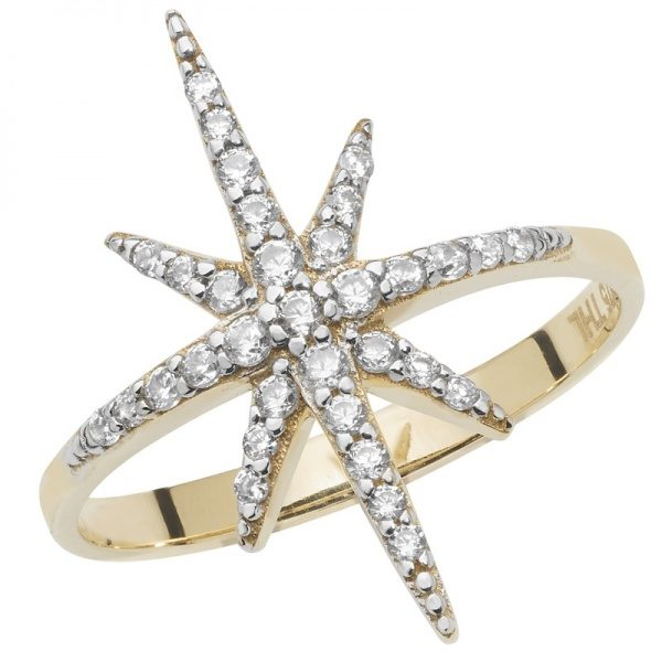 9 carat gold cubic zirconia star ring