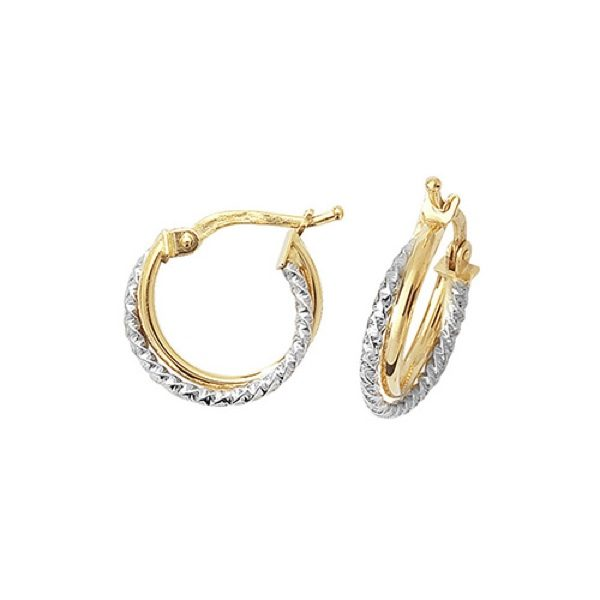 9 carat gold dual colour hoop earrings